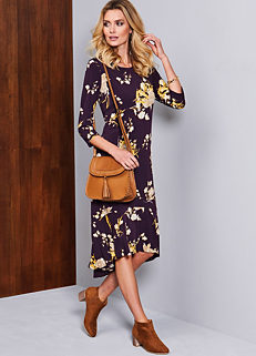 0cf43d55b8ecc Floral Print Three-Quarter Sleeve Dress