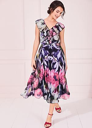 Kaleidoscope Plus Size 20 22 Black Floral Embroidered DRESS Occasion Party £92
